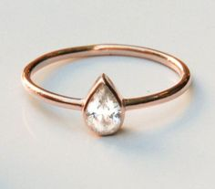 14k Rose Gold Ring  - Rose Gold Engagement Ring - Stetement Ring - TearDrop Ring - Solitaire Ring  - Pear Diamond Ring - Solid Gold ring