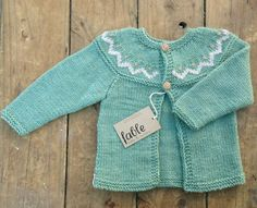 Hand+Knitted+Unisex+Baby+Cardigan+Wool+&+Silk++Green+by+fablebaby