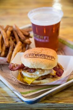 Any time can be morning at BurgerFi with a Breakfast All Day burger — topped with egg, cheese, bacon and maple syrup.