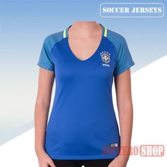 Nice Fitted Brazil Blue 2016/17 Away Womens Soccer Jersey Clearance From China