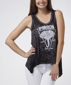 Black & White 'Peace' Sidetail Tank by CottyOn #zulily #zulilyfinds