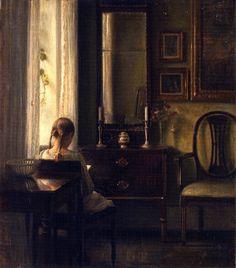 """ღღ Sourse:The Athenaeum ~~~- """"Interior with a Girl Reading"""" (Carl Vilhelm Holsøe - 1903), Oil on canvas - Statens Museum for Kunst (Denmark)"""