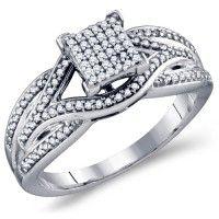 Diamond Engagement Ring Micro Pave Anniversary Band Bridal 10k White Gold (0.33 ct.tw). #Diamond #wedding #Engagement #Ring #fashion #Jewelry #White jeweltie.com
