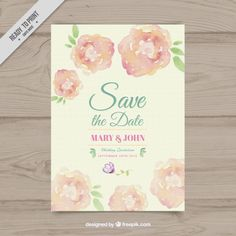 Wedding invitation of watercolor flowers Free Vector