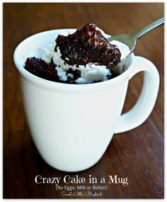"""crazy cake in a mug - no eggs, milk or butter - ready in minutes! Done- put a little peanut butter on the top & it's a perfect """"me, myself, and I"""" treat"""