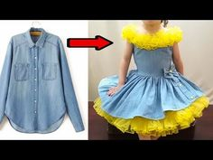 Fast conversion of old jeans shirt for gorgeous baby dress Girls Dresses Sewing, Sewing Kids Clothes, Gowns For Girls, Frocks For Girls, Little Girl Dresses, Baby Pageant Dresses, Prom Dresses Blue, Baby Dress, Party Dresses