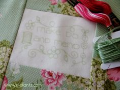 Jenny of Elefantz tutorial : Printing onto fabric...plus a free stitchery design to download as your practice block!