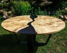 Live edge big round river coffee table with epoxy resin