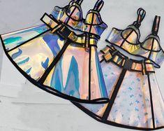 US$ 75.00 - Handmade Custom Holographic Vinyl Bustier Mini Skirt Rave Music Festival PVC Plastic Clothing - www.pindarave.com Holographic Dress, Holographic Fabric, Festival Costumes, Festival Outfits, Criss Cross, Drag Queen Costumes, Rave Shorts, Rave Music, Vinyl Dress