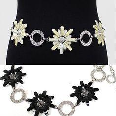 Women Big Flower Full Metal Wide Chain Hip Waist Circle Belt Silver Belt Wedding