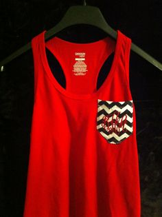 Monogrammed Chevron Pocket Red Size SMALL by SpooledRottenConway, $16.00