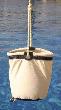 Collapsable canvas bucket for boats.