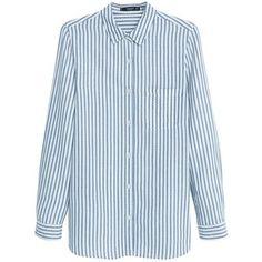 Mango Striped Shirt, Light Pastel Blue