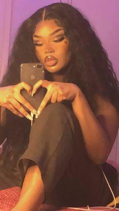 Swag Girl Style, Girl Swag, Beautiful Black Girl, Pretty Black Girls, Black Girl Aesthetic, Aesthetic Hair, Cute Makeup, Makeup Looks, Brown Skin Girls
