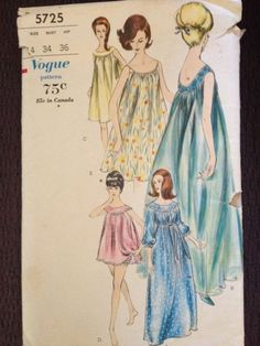 Vintage 1950's 50s 60s Vogue pattern for Nightgown Babydoll Pantie peignoir number 5725 Sz 14 | eBay
