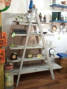 ReStyled Custom 6ft Wooden Ladder Shelf Shelving Unit Bookcase