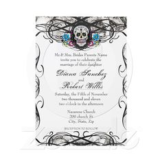 Muerte Sugar Skull Wedding Invite