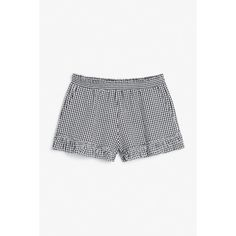 Monki Ruffled seersucker shorts (£8) ❤ liked on Polyvore featuring shorts, black magic, ruffle trim shorts, flounce shorts, checked shorts, checkered shorts and frilly shorts