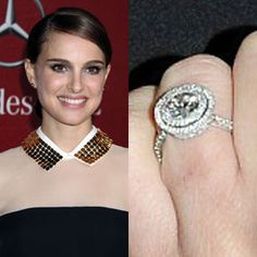 """Natalie Portman got engaged to Benjamin Millepied when he proposed with a round diamond surrounded by pave diamonds. The couple met while filming """"Black Swan."""""""