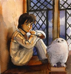 hour painting Harry and Owl by BlueBirdie.deviantart.com on @DeviantArt
