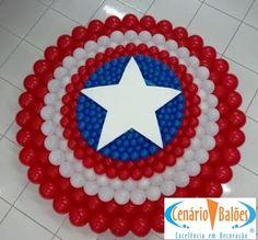 Super Heróis Captain America Party, Captain America Birthday, Baby Superhero, Superhero Birthday Party, Patriotic Decorations, Balloon Decorations, Balloon Wall, Balloons, Balloon Arch