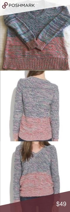 Madewell Spectrum sweater S Sold out online! Multi-color, relaxed fit. Made of 100% Cotton. True to size S. Madewell Sweaters V-Necks