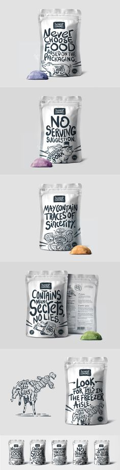 Such a fun-loving, interesting packaging design. Honest Dumplings by Scott Steele. Source: Behance. #sfields99 #packaging #design #inspiration #ideas #range #black #white #typography #food #consumer #products #dumplings #honest #flavor #creative #doy