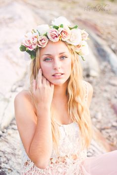 Beautiful girl in the golden hour . Summer sun long blond hair with flower crown head maxi skirt boheme boho photography portrait beautiful natural quebec canon t2i blue eyes gorgeous www.facebook.com/SQLphoto