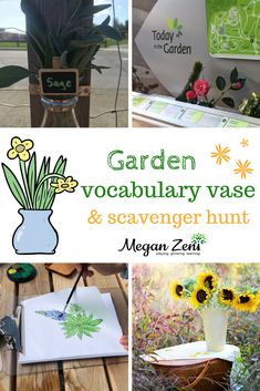 One of my favourite, low prep ways to enhance and support vocabulary development in the outdoor classroom is to prepare garden vocabulary vases with a scavenger hunt! Outdoor Activities For Kids, Time Activities, Outdoor Learning, Sensory Activities, Classroom Activities, Learning Activities, Outdoor Play, Outdoor Classroom, Ib Classroom