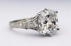Whitehouse Brothers custom-made mounting with 4.05ct D color cushion cut