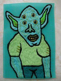 Green Alien by yarnartist.