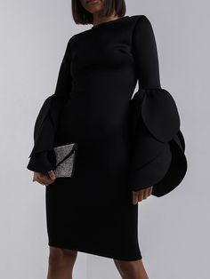 Material:Knitted Fabrics; Silhouette:Bodycon #BlackDress