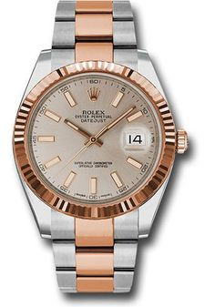 Rolex Oyster Perpetual Datejust 41 Steel and Pink Gold - Fluted Bezel - Oyster Watch 126331 suio