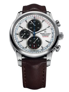 Maurice Lacroix Pontos Automatic White Dial Brown Leather Men's Watch PT6288-SS001-130