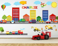 Construction Wall Decal Truck Wall Decal por YendoPrint en Etsy