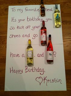 A wine birthday card! Way better than the beer cakes and birthday candy bar poems! Plus there are so many fun wine names, it's easy to come up with a poem for anything! Could also use bottled craft beers. Birthday Poems, Dad Birthday Card, Birthday Candy, 40th Birthday, Wine Birthday, Birthday Gifts, Birthday Greetings, Candy Bar Poems, Candy Bar Cards