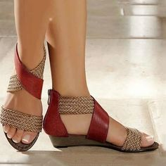 Women's Casual Colorblock Woven Sandals Get the latest womens fashion online With of new styles every day from dresses, onesies, heels, & coats, # Mid Heel Sandals, Wedge Heels, Brown Wedge Sandals, Espadrille Sandals, Blue Sandals, Dress Sandals, Strappy Heels, Fashion Shoes, Boots