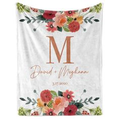Flower design with Monogram and Couples Name and Date - Blanket - 50 x 60 - Plush Fleece