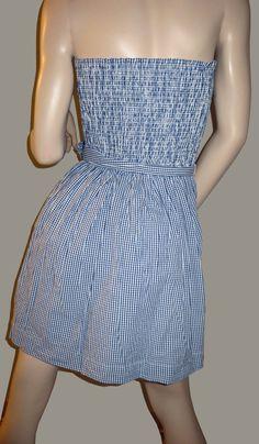 Hollister Co Moor Park Strapless Blue Gingham Print Sundress Dress Large New ~ Super Sexy ~ ON SALE!