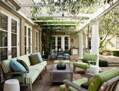 ideen terrassengestaltung überdachung kletterpflanzen