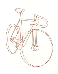 my simple line art bicycle sketch inspired by my love of bicycles -8x10 print - silkscreen printed in dark red/orange ink -printed on 150# French