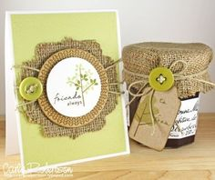 """cute idea for food gift, whether jams, pickles, salsa, preserves or """"gifts in a jar"""" ... burlap, button, and twine with brown paper tag, and what makes it really cute is the matching card! shared by ZsaZsa Bellagio: Burlap Decor, Love it! - #burlap #handmade #gifts #presentation #wrapping #giving #mason #jar #topper #gifts tå√"""