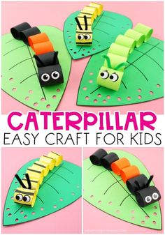 This easy caterpillar craft for kids is fun and simple for preschoolers and kids of all ages to make as a spring paper craft or when learning about caterpillars. Come grab the free caterpillar craft template. #iheartcraftythings