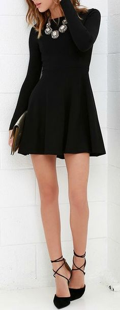Lulus Exclusive! Just like red lipstick, white tees, and blue jeans, the Forever Chic Black Long Sleeve Dress will always be in style! Medium-weight knit creates a sleek look across a rounded neckline and long fitted sleeves. Princess seams decorate the bodice, and are gracefully joined by the full skater skirt. #lovelulus