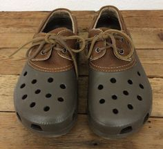 68199b089db218 Crocs Islander Boat Duck Brown Lace Up with Leather Upper Mens 11