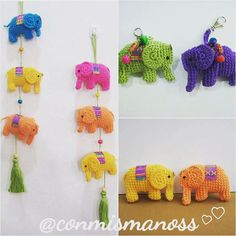 This is a pattern in PDF to make these little elphants. Available in Spanish and English This little elephant is ideal for beautiful key rings or mobile to decorate your favourite spot. Basic amigurumi technic and crochet knowledge will be need. Using the materials indicated an elephant get about 10 cm wide by about 6 cm high. If you have any question, please contact me. Have fun! ©2016 Susana Villalobos-conmismanoss. This pattern is for personal use only. This pattern or parts thereof…