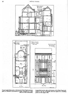 Victor Horta, Hotel Tassel, 1893-1895, Brussels, Belgium. Longitudinal section, plan and elevation of the Hotel Tassel submitted to the City of Brussels with the request for a building permit on 9th August 1893