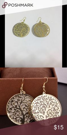 Beautiful gold hollow round tree of life earrings Beautiful gold hollow round tree of life earrings. Please feel free to make an offer or to ask any questions. I accept most offers. fashion jewelry Jewelry Earrings