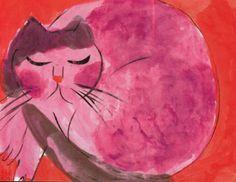 """Chat rose"" (pink cat)} Walasse Ting"