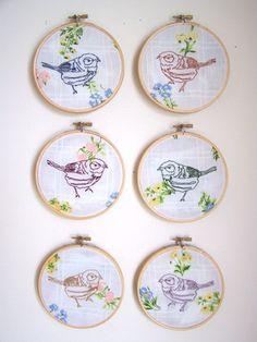 little embroidered birdies
